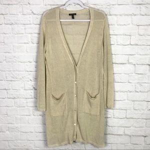 Eileen Fisher Linen Gold Knit Longline Cardigan L